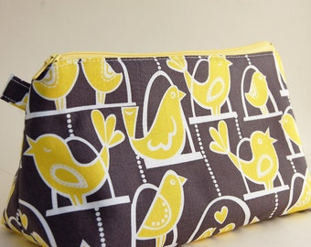 Flat Bottomed Pouch- Michael Miller Fabric-Birds