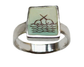 Narwhal Ring - Sterling Silver and Vitreous Enamel with Original Narwhal Drawing
