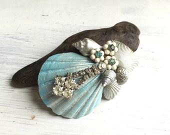 Beach Wedding No.15 - Soft Aqua Blue Seashell and Vintage Rhinestone Bridal Headpiece