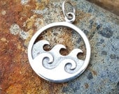Ocean Waves Sterling Silver Charm - Beach Necklace