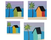 Set of original art, beach houses,  original acrylic painting, miniature art, tropical painting, coast and beach, palm tree, affordable  art