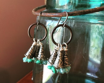 Aqua Dangles with Silver Floral Bead Cones