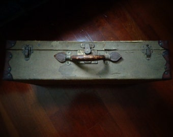 Grungy to the Core Vintage Suitcase Old Linen with Leather Suitcase Display Case Carrier Old Collectible Luggage