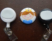 Fabric Covered Button for Clip on Retractable Badge Reel - Princess