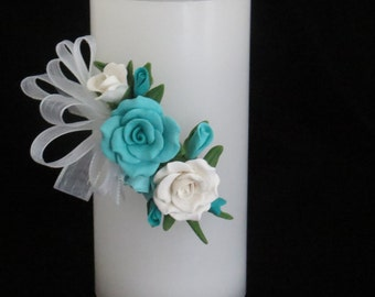 """6"""" Battery Operated Candle Decorated with Cold Porcelain Flowers"""