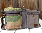 Hubbards Sunshine Feed - Convertible Belt/Waist Bag Vintage seed sack W- Americana OOAK Canvas & Leather Bag Selina Vaughan Studios