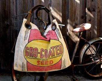 Gro-Coated Seeds - Open Tote - Americana OOAK Canvas & Leather Tote W... Selina Vaughan Studios
