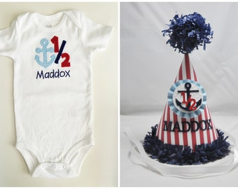 Boy Nautical Half Birthday Shirt Bodysuit & Party Hat Set- Personalized- Anchor 1/2