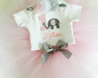 Girl Elephant 1st Birthday Tutu Outfit- Personalized Baby Girl