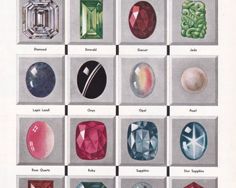 vintage gemstones and precious stones print, a 1930's book illustration, a digital download sheet,  no. 11