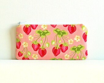 Small Zipper Pouch, Coin Purse, Women and Teens, Strawberry Fields in Pink, Sandi Henderson Meadowsweet