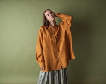 copper silk oversized blouse / silk top / slouchy silk button down / m / l / 1754t / B18
