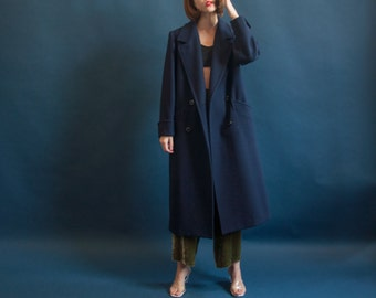 navy blue wool overcoat / oversized structured coat / double breasted winter minimalist coat / s / 2009o / R3