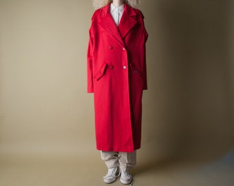 prime sector oversized red coat / trench style long coat / wool winter coat / m / 873o