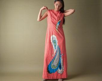 paisley print maxi hostess dress / vintage 70s dress / sleeveless bold print dress / s / 1853d