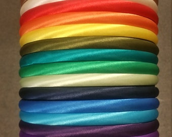 Sampler Pack - 10mm Satin Covered Headband - 12 pieces