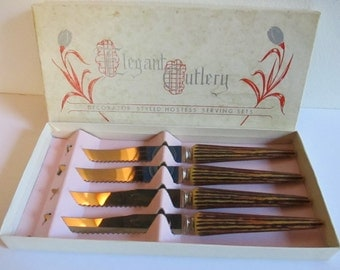 Vintage In Box Faux Antler Steak Knives never used Elegant Cutlery USA