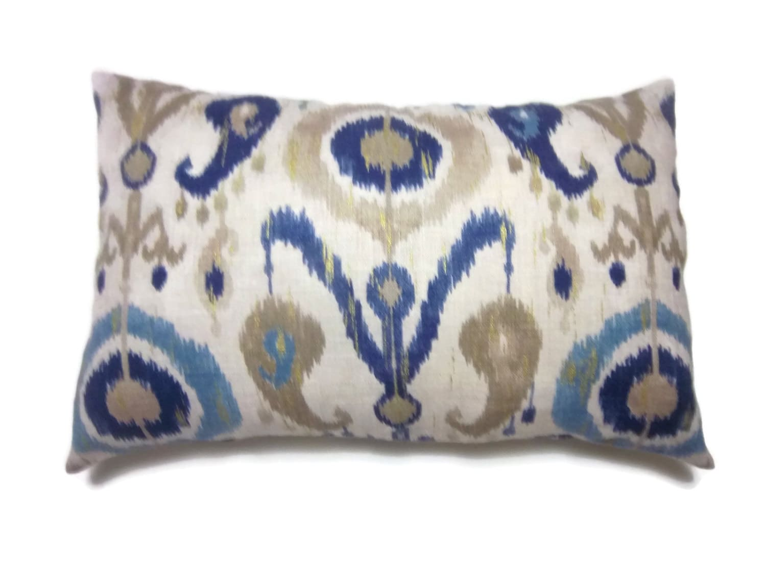 Decorative Linen Lumbar Pillow Cover Shades Of Blue Taupe Off