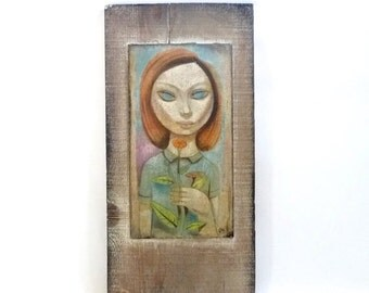SUMMER SALE Big Eyed Girl Painting by Leon Dusso