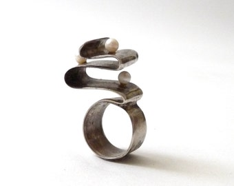 Modernist Sterling and Pearl Statement Ring