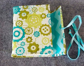 Blue Green Fabric Wrap Journal, Graphic Design, Notebook, Diary
