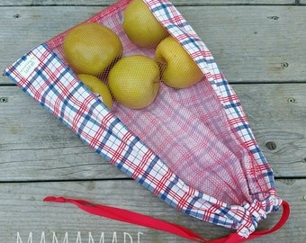 Reusable Produce Bag - Plaid - from green by mamamade
