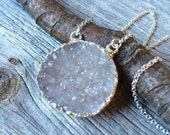 White MOON drusy crystal drusy silver necklace