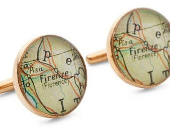 Firenze Map Cufflinks  Florence Solid Golden Bronze Heirloom Cast One Piece Antique Italy Atlas