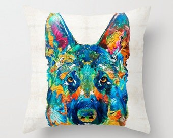 German Shepherd Pillow COVER Art Dog Pet AKC Puppy Puppies Shep Police Colorful Decor Artsy Decorating Made Easy Living Room Bedroom Bedding