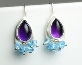Amethyst Dangle Earrings. Blue Topaz Cluster Earrings.