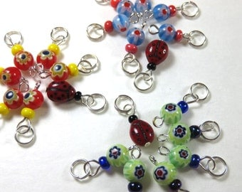 SJK Tinies -- Delicate Stitch Markers for Small Needles -- Six Flowers and a Ladybug (Choice of Three Colors)