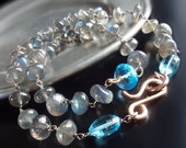 ON SALE 20% OFF Custom Made to Order - Labradorite Necklace with Swiss Blue Topaz and Rose Gold