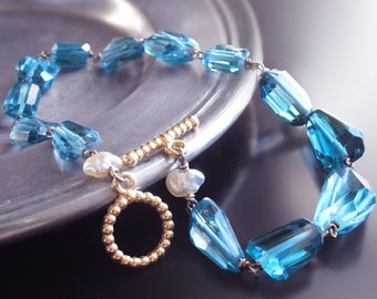 ON SALE 15% OFF Custom Made to Order - 14k London Blue Topaz Bracelet with Japanese Saltwater Keishi Pearls