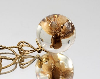 Stunning Thuja Necklace, Gold Plated Sterling Silver, Resin Jewelry