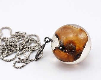 Baltic Amber Necklace, Sterling Silver Necklace, Resin Jewellery