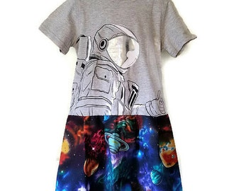 Girls Planets and Space Exploration Astronaut Handmade Dress, Size 6, by We Wear What We Want!