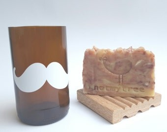 Father's Day Gift, Natural Soap, Handmade Soap, Shaving Set, Recycled Glass, Beer Glass, Soap Dish, Unscented Soap, Exfoliating Soap