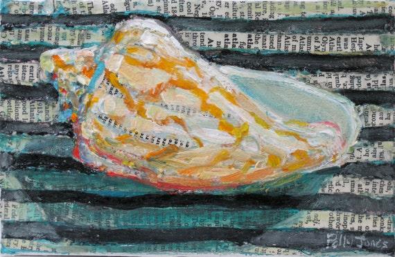 Bat Volute Shell original acrylic mixed media painting by Polly Jones