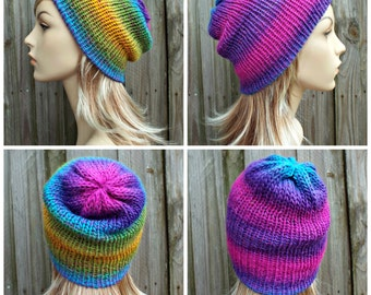 Reversible Hat Double Knit Hat Slouchy Beanie - Womens Beanie Mens Beanie Rainbow Beanie - Womens Accessories - READY TO SHIP