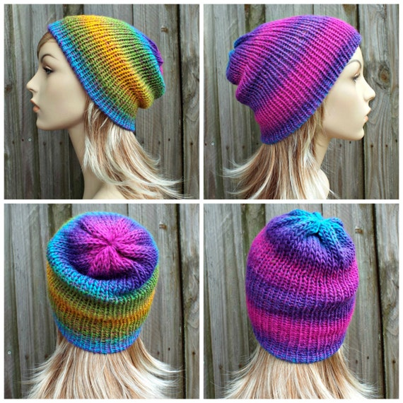 Reversible Hat Double Knit Hat Slouchy Beanie Womens Beanie