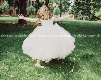 Peach Blush Flower Girl Dress Floor Length