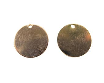 Rose Gold Plated Engraving Circle Charms - with hole - 15mm (4X) (V452-D)