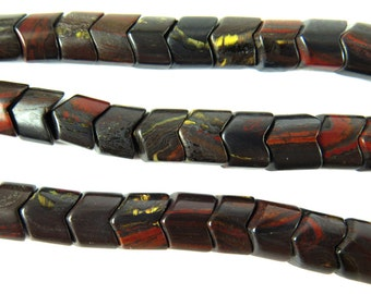 Iron Tiger Jasper Chevron Beads (10X) (NS802)