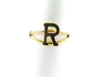 Vintage Gold Plated Adjustable Initial Letter R Ring (2X) (J517-R)