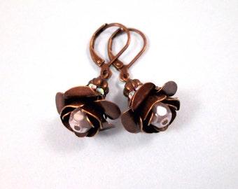 Flower Earrings, White Glass Rhinestones and Pearls, Brass Blossom Earrings, FREE Shipping U.S.