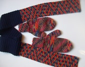 Hand Knit Mittens, Hand Crocheted Scarf  -Red Gold Gray Navy - for Ladies/Teens