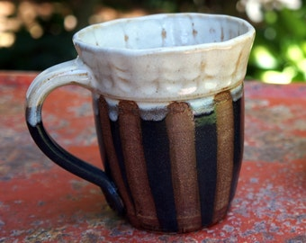 Pottery Mug Gift with Brown Black White Stripes Made by Hand