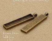 10pcs 12x53mm vertical antique bronze Pewter blank bezel rectangle Pendant Tray