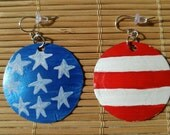 Stars and stripes recycled bottle cap earrings Custom order for SARALYNN