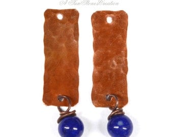 Handmade Rustic Copper Earring Components with Gemstone Dangles - 2 pieces - Grade AA Lapis Lazuli EC245